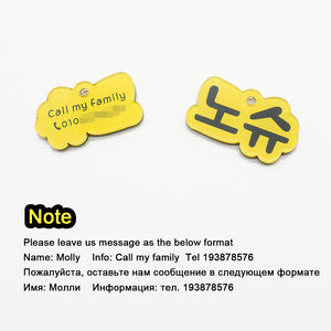 8.2 Personalized Dog Tag Handmade Acrylic Pet ID Tag for Dogs Puppies Colorful Name Tags for Cats Kitten Pendent Collar Accessories
