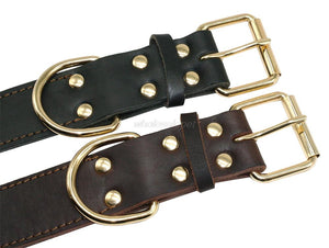 8 Genuine Leather Dog Collar K9 Working Dog Pet Training Collars Heavy Duty For Medium Large Dogs German Shepherd Brown Color