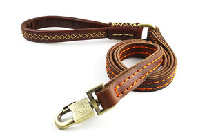 8 Double Layer Genuine Leather Dog Leash Handmade Training Walk Rope Professional Dog Chains for Big Large Dogs Husky
