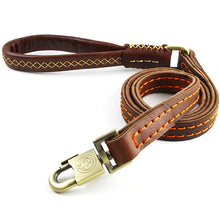 将图片加载到图库查看器,8 Double Layer Genuine Leather Dog Leash Handmade Training Walk Rope Professional Dog Chains for Big Large Dogs Husky