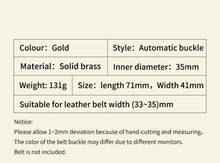 Load image into Gallery viewer, 1 Eagle Men's Belt Solid Brass Automatic Buckle Strap Genuine Leather Belt for Men Business Casual Male Waistband 3.5cm Accessory