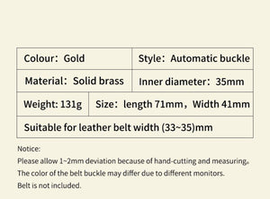 1 Eagle Men's Belt Solid Brass Automatic Buckle Strap Genuine Leather Belt for Men Business Casual Male Waistband 3.5cm Accessory