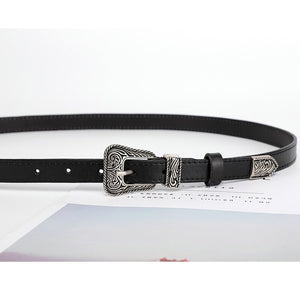 2 Belts for Women Black Cowhide Genuine Leather Belt Western Cowgirl Waist Belt Metal Buckle Waistband  Female 1.8cm Width