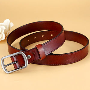 2 High Quality Genuine Leather Waist Strap Belt Female Square Pin Metal Buckle Belts Women's Belts for Jeans