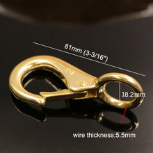 将图片加载到图库查看器,1 x Solid brass snap hook fixed eye trigger clasp for leather craft bag strap belt horse gear marine pet rope leashes clips