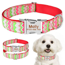 将图片加载到图库查看器,98 Free Engraved Personalized Dog Collar Fabric ID Name Tag Buckle Customized Puppy S M L Dog Pet Name Puppy Information