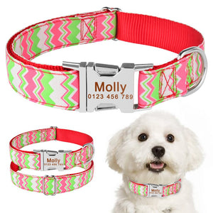 98 Free Engraved Personalized Dog Collar Fabric ID Name Tag Buckle Customized Puppy S M L Dog Pet Name Puppy Information