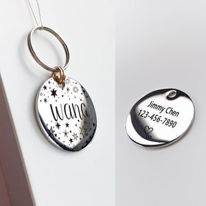 5 Personalized Cat Dog ID Tag MW002 Artistic Font Double Sided Engraved For Small Medium Large Pet Dog Collar Accessories Tags