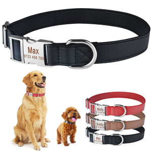 95 Personalized Dog Collar Custom Engraved Puppy ID Name Tag Buckle Gray Collar S-L
