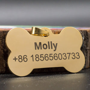 8.2 Funny Custom Dog ID tag Stainless Steel Name Tag for Dogs Cats Puppies Collar Anti-Lost Dog Supplies Pet Products