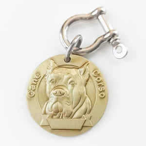 5 Personalized Brass Dog ID Tag MW008 Front 3D Model Dogs Breed Image Back Laser Deep Carving Custom Labrador American Bully