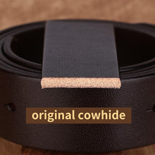 将图片加载到图库查看器,3 Men's Jeans Belts Smooth Buckle Cowhide Genuine Leather Belts Vintage Brand Waistband Strap Belt For Men Male