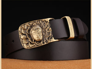 3 Men's Jeans Belts Smooth Buckle Cowhide Genuine Leather Belts Vintage Brand Waistband Strap Belt For Men Male