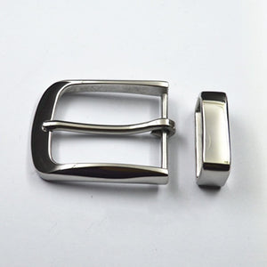 40mm Men's solid Stainless Steel Pin Belt Buckle + Belt loop Belts Clip DIY leather Craft accessories for belt width 38-39mm