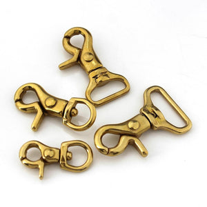 Solid Brass Trigger Clips Swivel Eye Bolt Snap Hook Lobster Clasps for Leather Craft Bag Strap Belt Webbing Pet Dog Rope Leashes