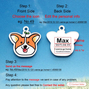 8.2 Personalized Dog Tag With Icon Handmade Acrylic ID Tag for Dog Collar Puppies Adorable Nameplate Pendent Pet Products