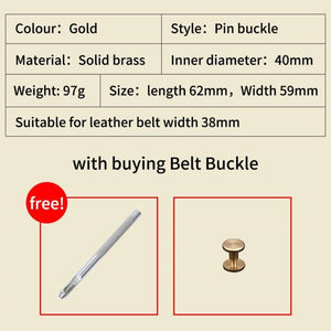 0 Solid brass Metal Belt Buckles Fashion Men Women 40mm Pin Buckle For 3.8-3.9cm Belts DIY Leather Craft Jeans Accessories