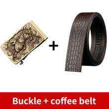 将图片加载到图库查看器,0 High Quality Men's Solid Brass Buckle Strap Cowskin Genuine Leather Belt for Men Waistband Jeans Accessories Male 3.5cm Width