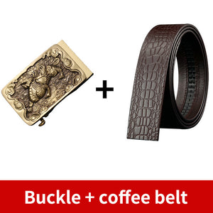 0 High Quality Men's Solid Brass Buckle Strap Cowskin Genuine Leather Belt for Men Waistband Jeans Accessories Male 3.5cm Width