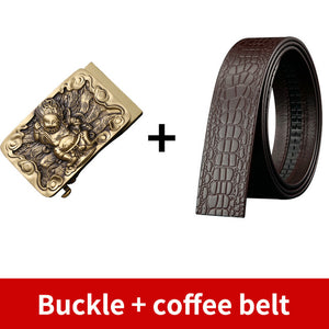 0 Vintage Male Solid Brass Automatic Belt Buckle Genuine Leather Men Belt Ratchet Business Waistband Belts for Men 3.5cm Accessory