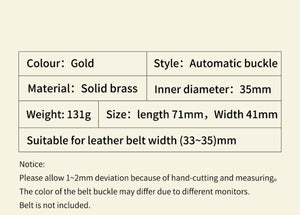0 Automatic Belts Buckle for Men Strap High Quality Solid Brass Buckle Designers Male Brand Cowskin Genuine Leather Waistband 3.5