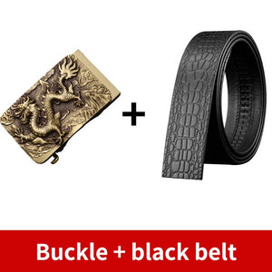 0 Vintage Men Belt Dragon Buckle Solid Brass Automatic Buckle Genuine Leather Belt for Men Waistband Jeans Casual Accessories Male
