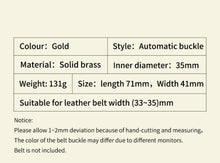 Load image into Gallery viewer, 0 Vintage Men Belt Dragon Buckle Solid Brass Automatic Buckle Genuine Leather Belt for Men Waistband Jeans Casual Accessories Male
