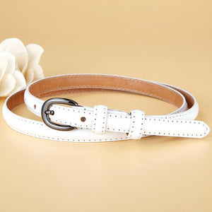 2 Fashion Women Genuine Leather Skinny Belt Lady White Cowhide Belt Pin Buckle Thin Waistband Dress Decorate Strap High Quality