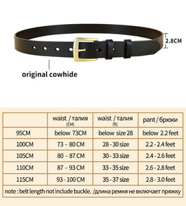 2 Fashion Women Cowskin Genuine Leather Belt Solid Brass Pin Buckle Belts for Women Jeans Female Straps All-Match Accessory