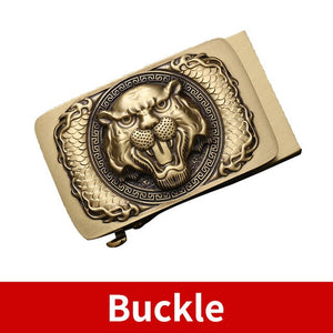 0 Fashion Luxury Tiger Solid Brass Automatic Buckles Men's Genuine Leather Waist Belts for Men 3.5cm Ratchet Jeans Accessories