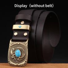 将图片加载到图库查看器,1 New Fashion Casual Men's Leather Belts Buckle Male Top Quality Eagle Totem Copper Smooth Buckle Retro Belt For Men's Jeans