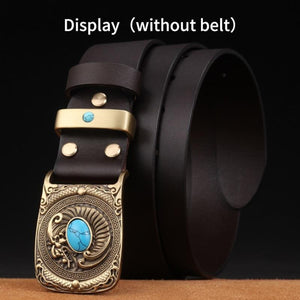 1 New Fashion Casual Men's Leather Belts Buckle Male Top Quality Eagle Totem Copper Smooth Buckle Retro Belt For Men's Jeans