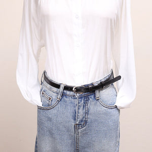 2 Women's Thin Skinny Genuine Leather Belt Solid Color Cowhide Waistband Dress Jeans 1.5cm Width