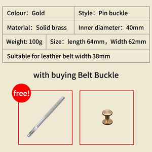 1 Solid brass Men Belt Buckle 40mm Metal Pin Buckle Fashion Jeans Waistband Buckles For 3.8cm Belt DIY Leather Craft Accessories