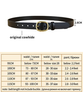 2 Genuine Leather Belts for Women Fashion Brass Pin Buckle Belt Quality First Layer Cow Skin Female Jeans Strap