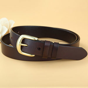 2 Women Genuine Leather Belt Pin Buckle Vintage Cowskin Strap Female Waistband Solid Buckle Fancy for Jeans Dress Accessory