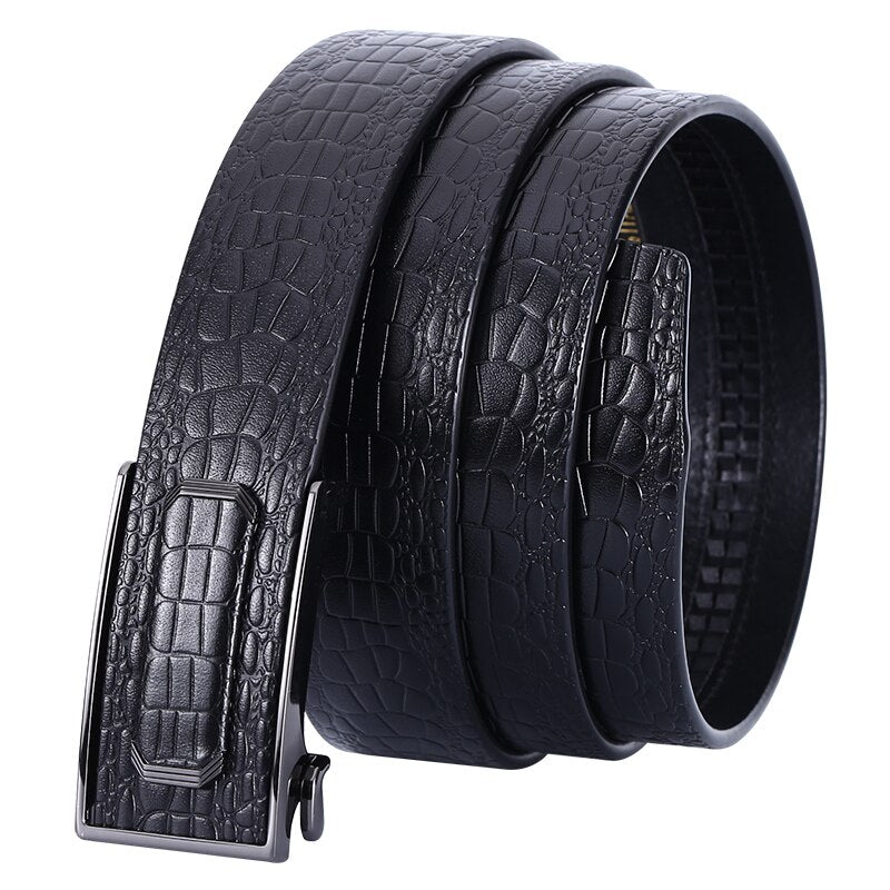 4 Men's Belt Cow Leather Belts Brand Fashion Automatic Buckle Black Genuine Leather Belts for Men 3.5cm Width