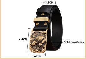 3 Cowskin Belt Men Accessories Cowboy Genuine Leather Belts For Men Vintage Pin Buckle Mens Belts Gift For Man