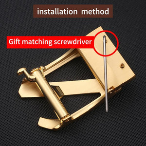 1 Solid Brass Simple Z Automatic Belts Buckle for Men Suitable Width 3.5CM Strap
