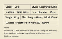 Load image into Gallery viewer, 1 Men's Solid Brass Copper Designer Belts Dragon Automatic Buckles 3.5cm Width Ratchet
