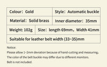 将图片加载到图库查看器,1 Fashion Luxury Solid Brass Automatic Buckles for Men's Leather Waist Belt Accessories 3.5CM