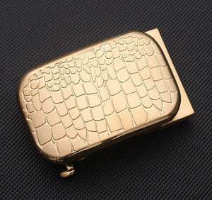 1 Men Solid Brass Copper Automatic Buckle Designer Leather Belt Waistband Accessories 3.5CM