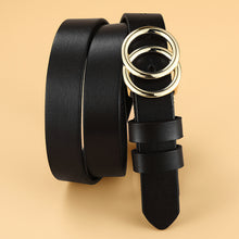 Load image into Gallery viewer, 2 Female Cowhide Genuine Leather Belt Double Ring Buckle Vintage Decorative Casual Thin Skinny All-Match Women Belt 2.3cm Width