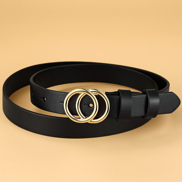 2 Female Cowhide Genuine Leather Belt Double Ring Buckle Vintage Decorative Casual Thin Skinny All-Match Women Belt 2.3cm Width