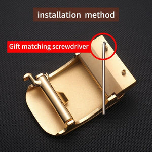 1 Mens Solid Brass Automatic Buckle for Mens Leather Belt Waistband Accessory 3.5CM