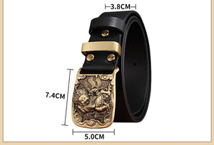 3 brand belt cowhide genuine leather belt for men Strap male Smooth buckle vintage jeans cowboy Casual designer New