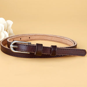2 Vintage Metal Pin Buckle Genuine Leather Thin Strap Belt For Women Classic All-Match Skinny Belt Waistband for Jeans Accessory