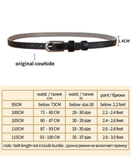 Load image into Gallery viewer, 2 Vintage Metal Pin Buckle Genuine Leather Thin Strap Belt For Women Classic All-Match Skinny Belt Waistband for Jeans Accessory