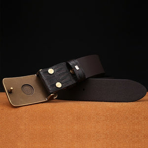 3 Men's Genuine Leather Belt Vintage Jeans Belt Strap Double Pin Buckle Designer Leather Belts For Men Male Gift