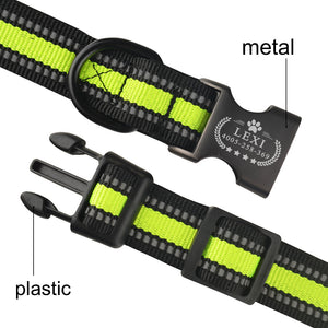 95 Reflective Personalized Dog Collar Adjustable Padded Custom Engraved ID Name S-L